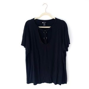 Torrid Black T Strap Short Sleeve Shirt